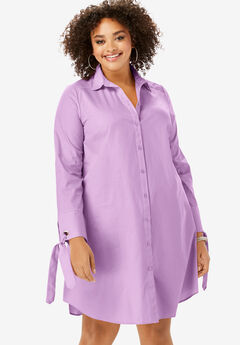 Tie-Sleeve Kate Shirtdress, AMETHYST
