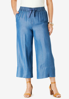 Tencel® Wide-Leg Crop Pant, MEDIUM WASH