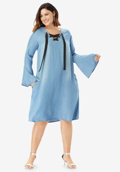 Denim Trapeze Dress with Lace-Up Neck,