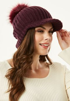 Brimmed Pom Hat with Cableknit Pattern,