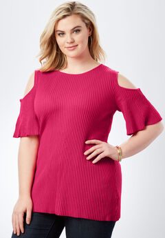 Ribbed Cold-Shoulder Sweater with Bell Sleeves, CRYSTAL BERRY