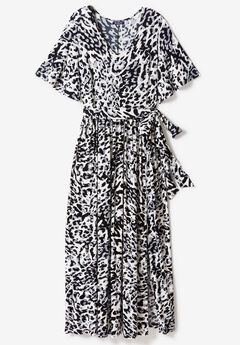 Belted Maxi Dress with Flutter Sleeves,