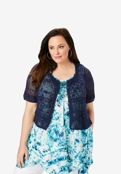 Cropped Pointelle Cardigan, NAVY