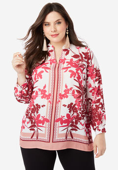 Banded-Collar Tunic with Split Neck, PINK FLORAL PRINT