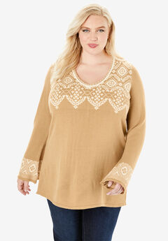 Fit-And-Flare Tunic Sweater, CAMEL IVORY FAIR ISLE