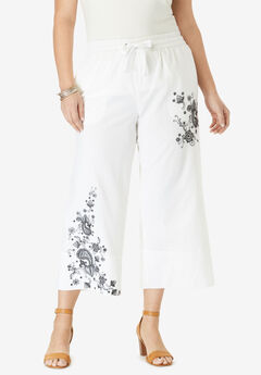 Linen Wide-Leg Crop Pant, EMBROIDERED PAISLEY