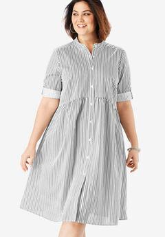 Roll-Sleeve Swing Shirtdress, WHITE BLACK STRIPE