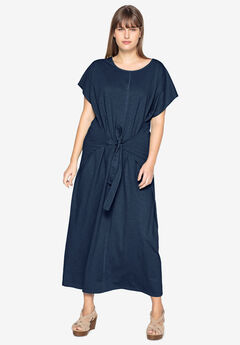 Tie-Front Maxi Dress by Castaluna, NAVY
