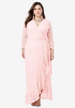 Lace Wrap Dress with Ruffle Hem,
