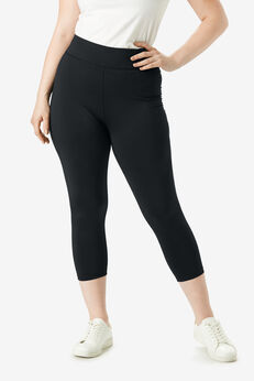 Capri Performance Legging with Wide Waistband, BLACK