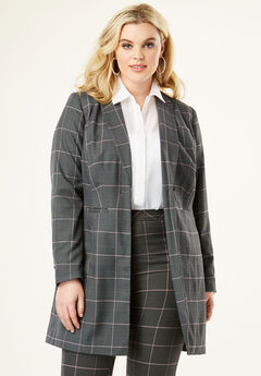 Long Two-Way Stretch Blazer, PLUM WINDOWPANE PLAID