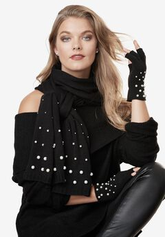 Pearl-Embellished Scarf and Fingerless Glove Set,