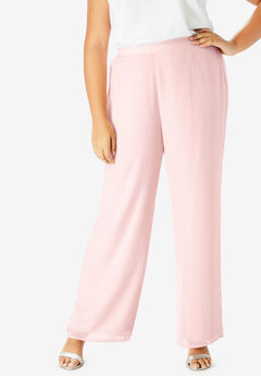 Georgette Wide-Leg Dress Pant, PALE BLUSH