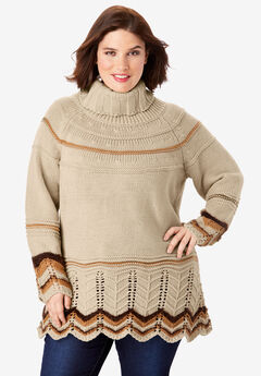 Chevron Border Pullover Sweater, SANDY BEIGE COMBO