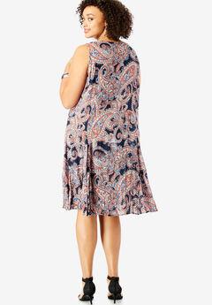 c86bd186f2 A-Line Crinkle Dress with Tassel Ties. Roaman s