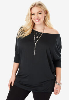 Wide Boatneck Top with Dolman Sleeves,