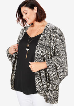 Cocoon Kimono Jacket, BLACK DIAMOND TRIBAL