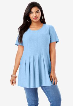 Pleated Tunic with Short Sleeves,