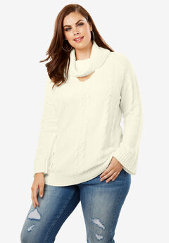 Cowlneck Sweater with Bell Sleeves, IVORY