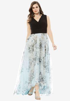 Printed High Low Dress,