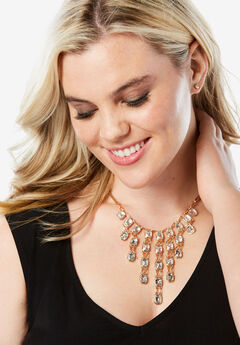 Cascading Rhinestone Necklace, GOLD