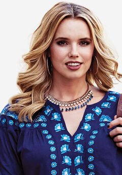 Studded Necklace with Gems,