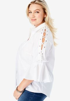 Lace-Up-Sleeve Shirt,