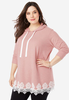 Supersoft Hoodie Sweatshirt with Lace Trim,