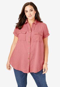 Seersucker Shirt, DESERT ROSE