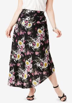 Faux-Wrap Midi Skirt, PEONY FLORAL