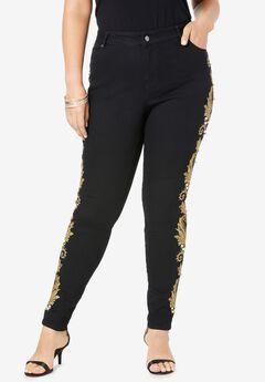 Embroidered-Side Skinny Jean,