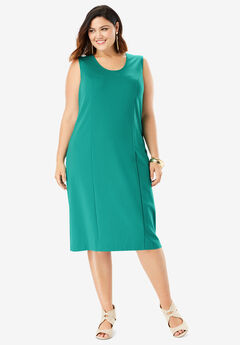 Ultimate Ponte Sheath Dress with V-Neck, VIVID EMERALD