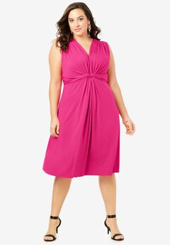 Knot-Front Stretch Jersey Dress,