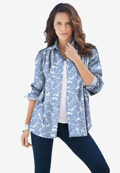 Long-Sleeve Kate Big Shirt, WHITE HORIZON BLUE PAISLEY