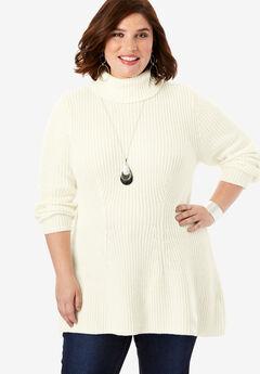 Ribbed Turtleneck Sweater, IVORY