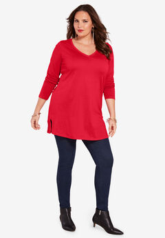 Long-Sleeve V-Neck Ultimate Tunic, VIVID RED