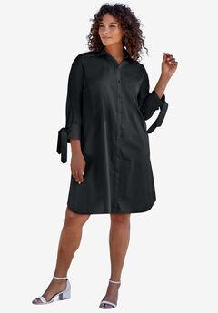 Tie-Sleeve Kate Shirtdress, BLACK