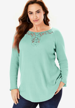 Lace Henley Thermal Knit Top, ICED MINT