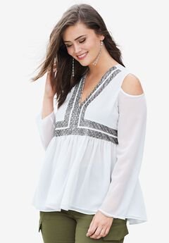 Cold-Shoulder Beaded Top,