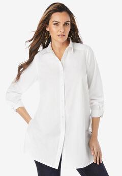 Lace Poplin Big Shirt, WHITE