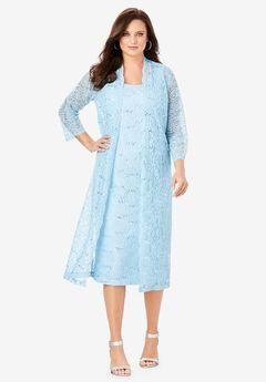 Lace & Sequin Jacket Dress Set, POWDER BLUE