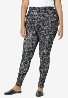 Ankle-Length Essential Stretch Legging, BLACK GRAPHIC TEXTURE