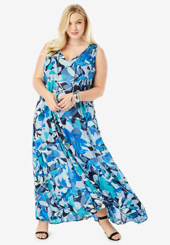 Crinkle A-Line Maxi Dress, BLUE ABSTRACT FLORAL