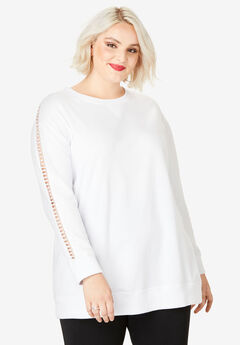Crochet Sleeve Sweatshirt,