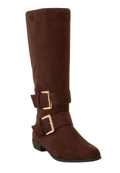 The Stina Wide Calf Boot by Comfortview®, BROWN