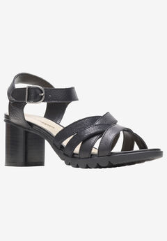 Griffon Qtr Strap Sandals by Hush Puppies®, BLACK LEATHER