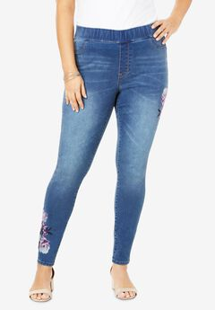 The No-Gap Jegging by Denim 24/7®, PURPLE EMBROIDERY
