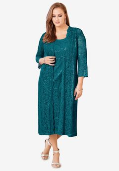 Lace & Sequin Jacket Dress Set, DEEP LAGOON