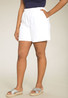 Soft Knit Shorts, WHITE