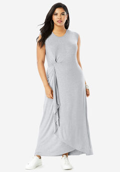 Side-Knot Maxi Dress with High-Low Hem, HEATHER GREY